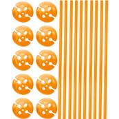 10 Tiges et coupelles orange 40cm plastique