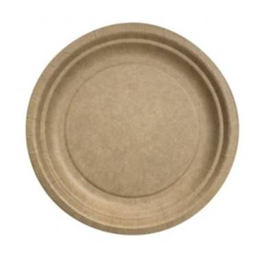 50 Assiettes Kraft Ronde 18cm compostable