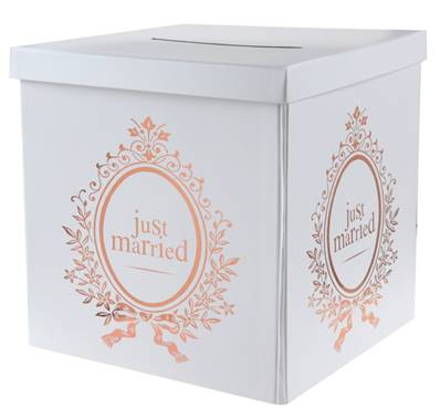 Tirelire Just Married rose gold 20x20x20cm carton