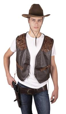 Gilet sans manches simili cuir marron TU