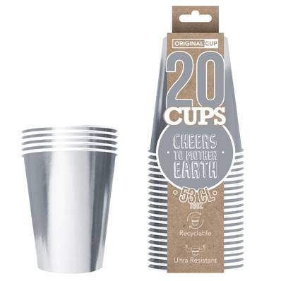 20 Cups carton 53cl Argent recyclable