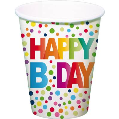 8 Gobelets Happy BDay Pois multicolore 250ml