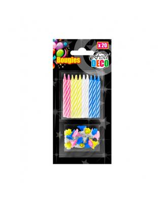 20 Bougies Multicolore + bobèche
