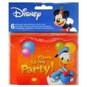 6 Cartes d'invitation Mickey + enveloppes