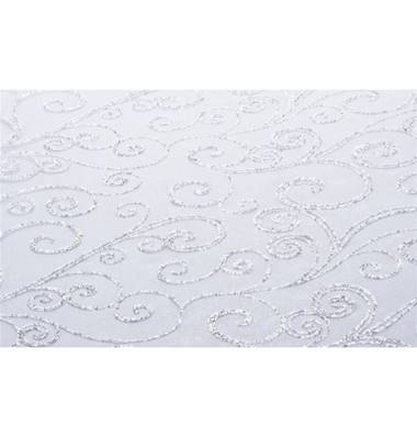Chemin de table blanc arabesque Argent 36 cm x 5 m